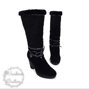 Cole Haan Black Suede Shearling Lined Winter Boots
